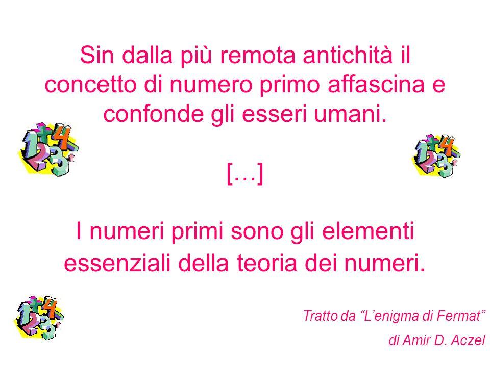 Sin dalla più remota antichità il concetto di numero primo affascina e confonde gli esseri umani. […] I numeri primi sono gli elementi essenziali della teoria dei numeri.